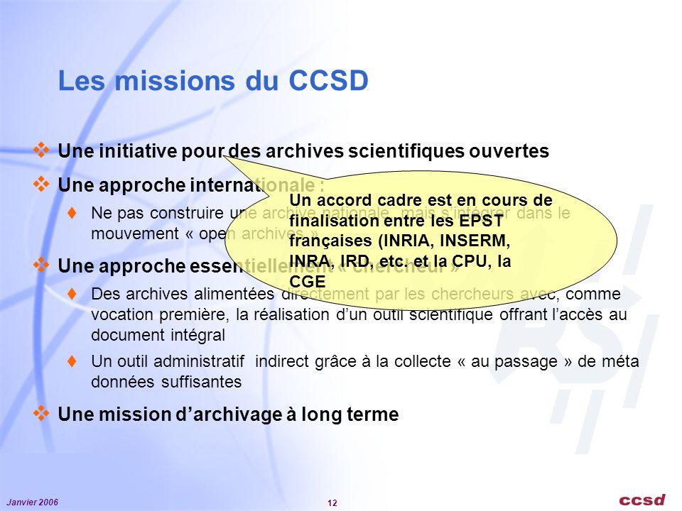 Janvier 2006 12 Les missions du CCSD Une initiative pour des archives scientifiques ouvertes Une approche internationale : Ne pas construire une archi