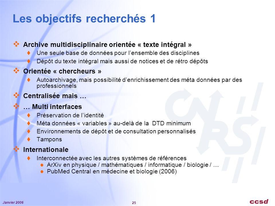 Janvier 2006 25 Les objectifs recherchés 1 Archive multidisciplinaire orientée « texte intégral » Une seule base de données pour lensemble des discipl