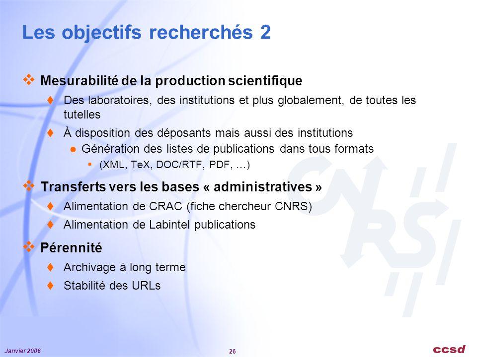 Janvier 2006 26 Les objectifs recherchés 2 Mesurabilité de la production scientifique Des laboratoires, des institutions et plus globalement, de toute