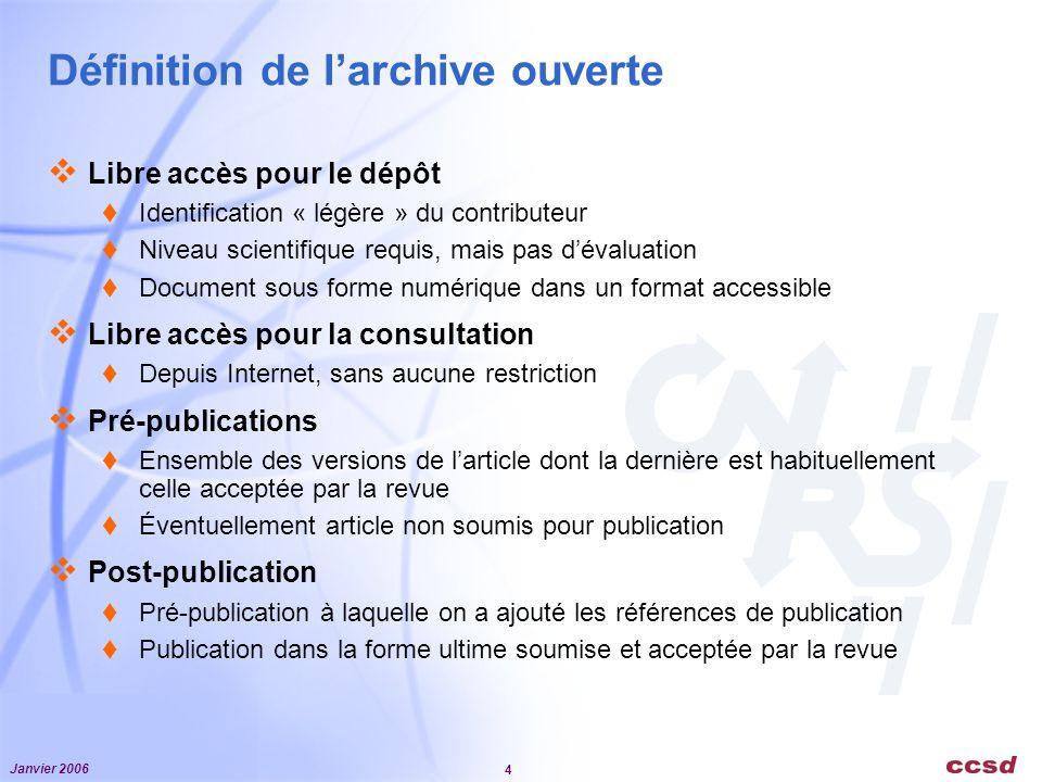 Janvier 2006 4 Définition de larchive ouverte Libre accès pour le dépôt Identification « légère » du contributeur Niveau scientifique requis, mais pas