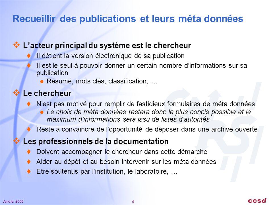 Janvier 2006 9 Recueillir des publications et leurs méta données Lacteur principal du système est le chercheur Il détient la version électronique de s