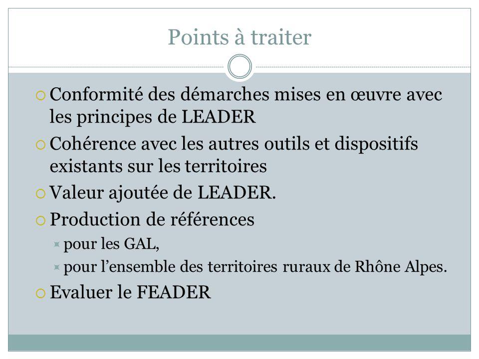 Points à traiter Conformité des démarches mises en œuvre avec les principes de LEADER Cohérence avec les autres outils et dispositifs existants sur les territoires Valeur ajoutée de LEADER.