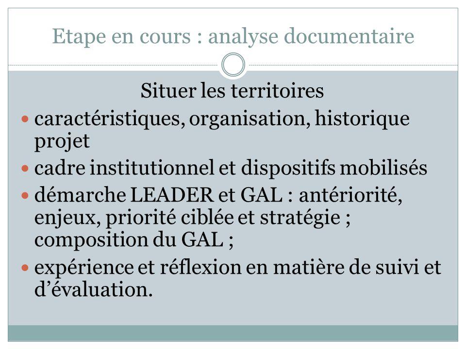Etape suivante : entretiens personnes ressources et 2 ou 3 GAL Affiner : problématiques communes typologie (s) constitution de groupes thématiques
