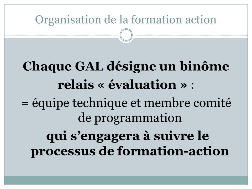 Organisation de la formation action Chaque GAL désigne un binôme relais « évaluation » : = équipe technique et membre comité de programmation qui sengagera à suivre le processus de formation-action