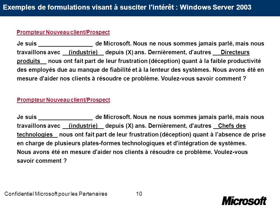 10Confidentiel Microsoft pour les Partenaires Je suis _________________ de Microsoft. Nous ne nous sommes jamais parlé, mais nous travaillons avec (in