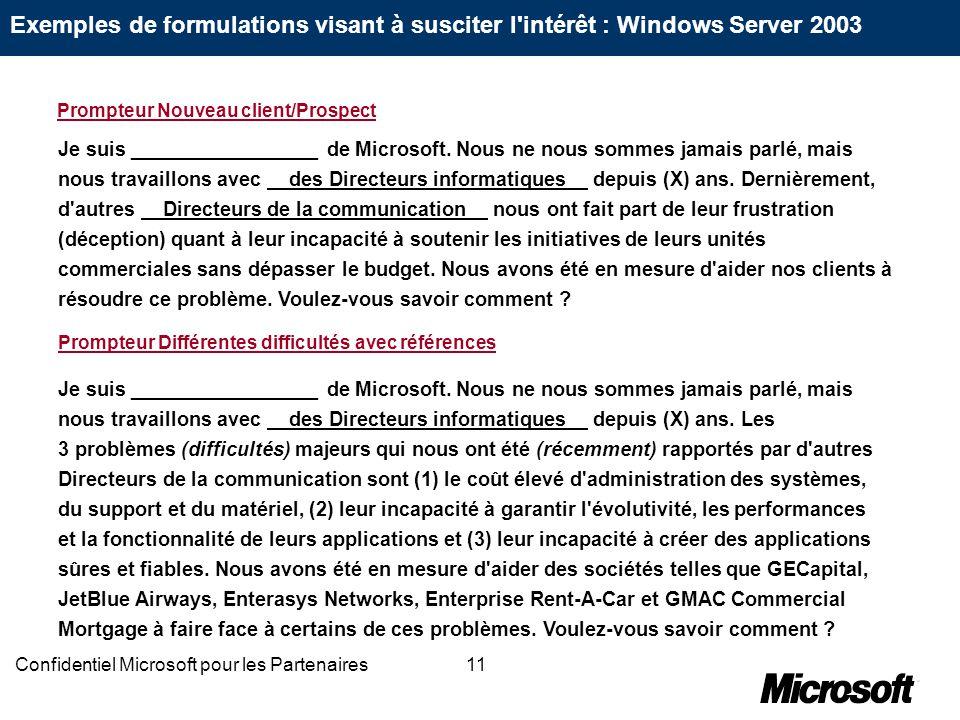 11Confidentiel Microsoft pour les Partenaires Je suis _________________ de Microsoft. Nous ne nous sommes jamais parlé, mais nous travaillons avec des