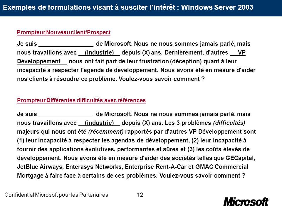 12Confidentiel Microsoft pour les Partenaires Je suis _________________ de Microsoft. Nous ne nous sommes jamais parlé, mais nous travaillons avec (in