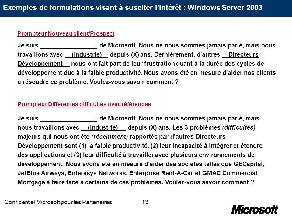 13Confidentiel Microsoft pour les Partenaires Je suis _________________ de Microsoft. Nous ne nous sommes jamais parlé, mais nous travaillons avec (in