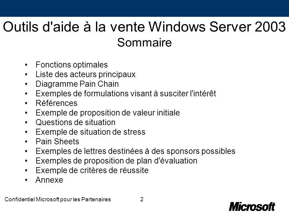 2Confidentiel Microsoft pour les Partenaires Outils d'aide à la vente Windows Server 2003 Sommaire Fonctions optimales Liste des acteurs principaux Di