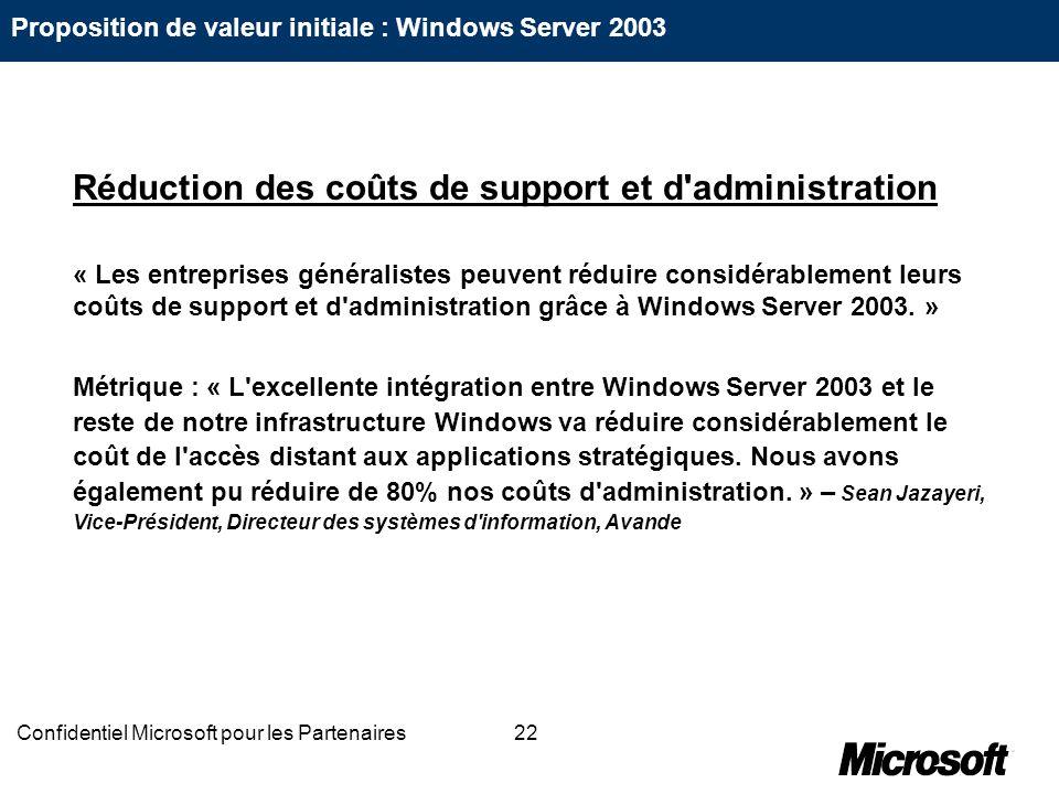 22Confidentiel Microsoft pour les Partenaires Réduction des coûts de support et d'administration « Les entreprises généralistes peuvent réduire consid