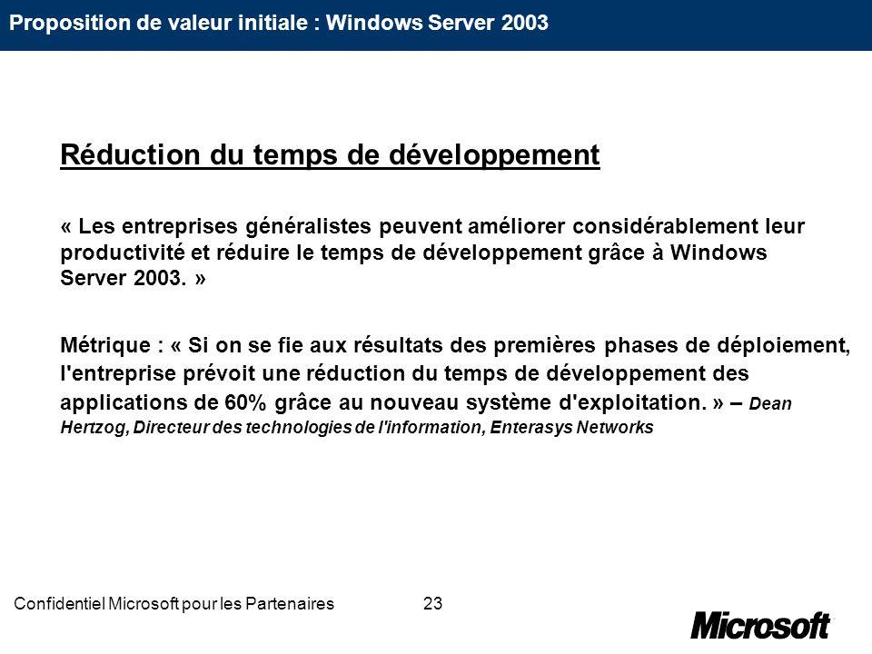 23Confidentiel Microsoft pour les Partenaires Réduction du temps de développement « Les entreprises généralistes peuvent améliorer considérablement le