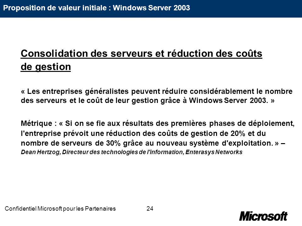 24Confidentiel Microsoft pour les Partenaires Consolidation des serveurs et réduction des coûts de gestion « Les entreprises généralistes peuvent rédu