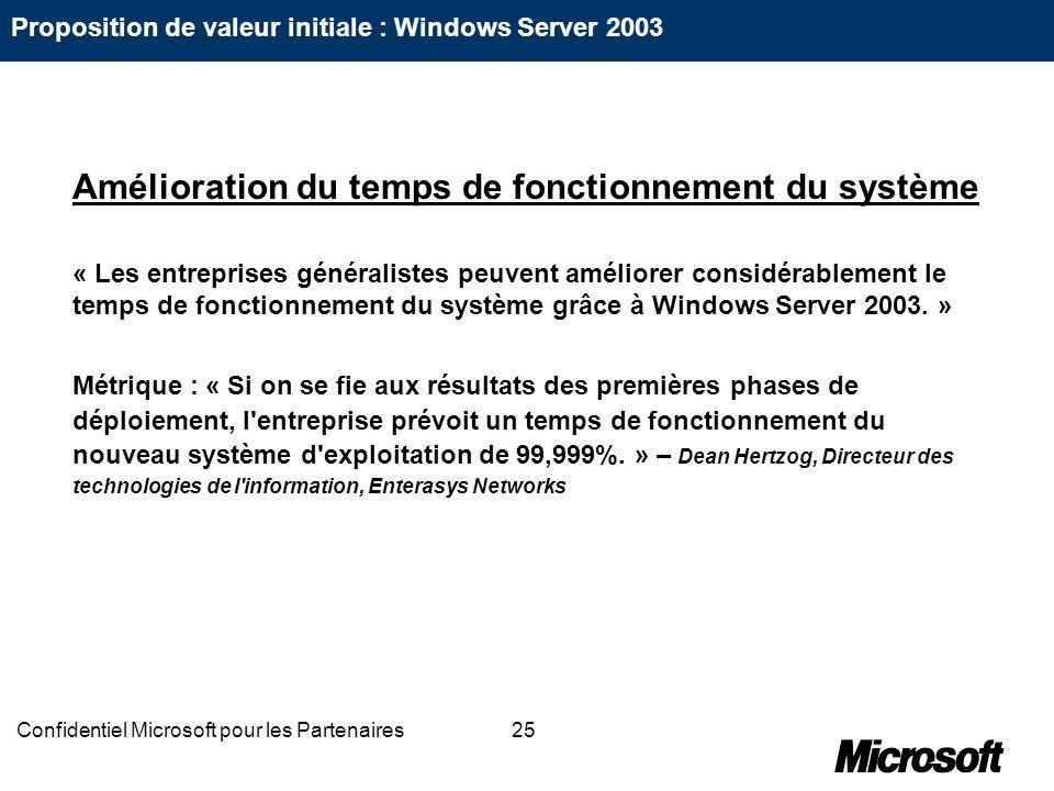 25Confidentiel Microsoft pour les Partenaires Amélioration du temps de fonctionnement du système « Les entreprises généralistes peuvent améliorer cons