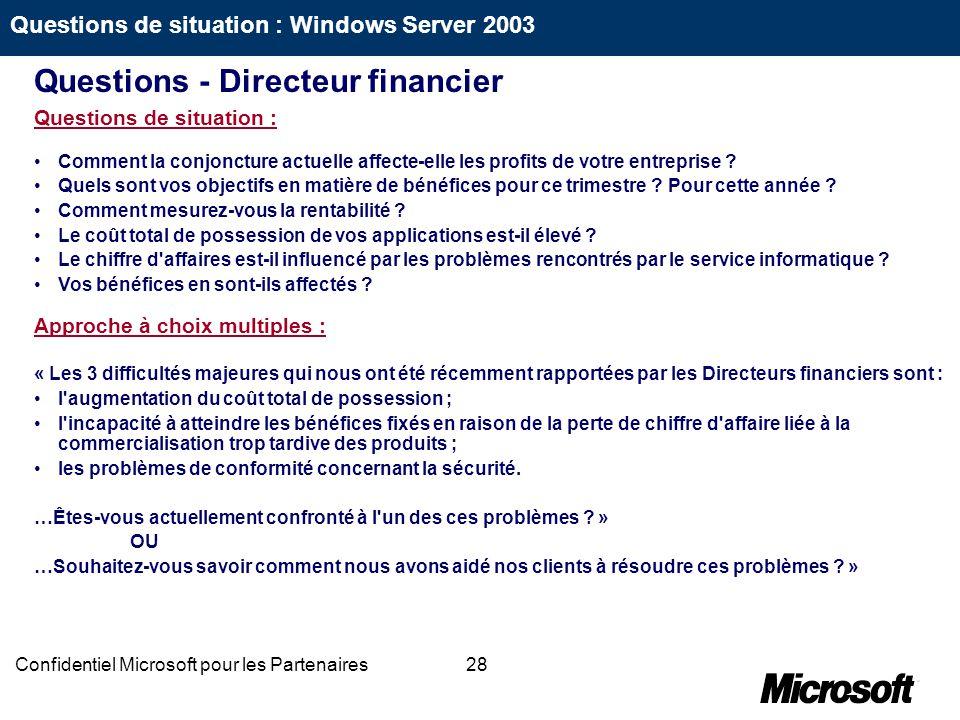 28Confidentiel Microsoft pour les Partenaires Questions de situation : Comment la conjoncture actuelle affecte-elle les profits de votre entreprise ?