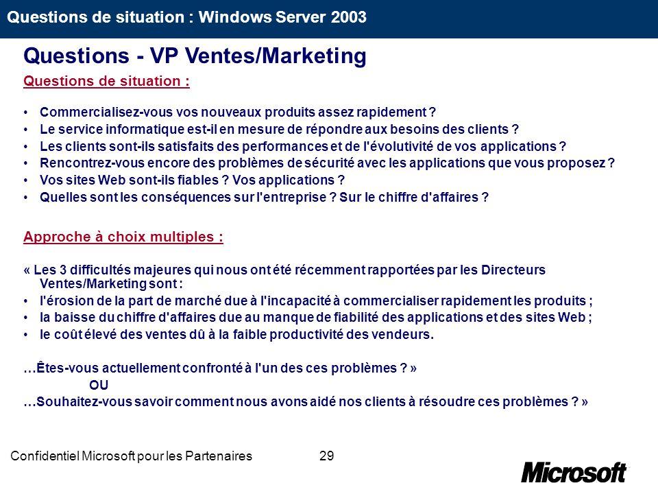 29Confidentiel Microsoft pour les Partenaires Questions de situation : Commercialisez-vous vos nouveaux produits assez rapidement ? Le service informa