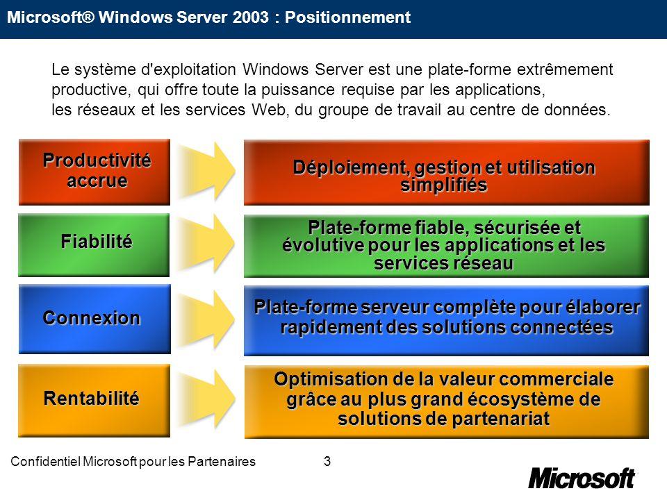 24Confidentiel Microsoft pour les Partenaires Consolidation des serveurs et réduction des coûts de gestion « Les entreprises généralistes peuvent réduire considérablement le nombre des serveurs et le coût de leur gestion grâce à Windows Server 2003.