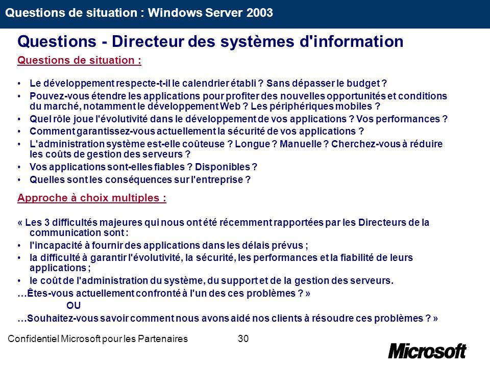 30Confidentiel Microsoft pour les Partenaires Questions de situation : Le développement respecte-t-il le calendrier établi ? Sans dépasser le budget ?