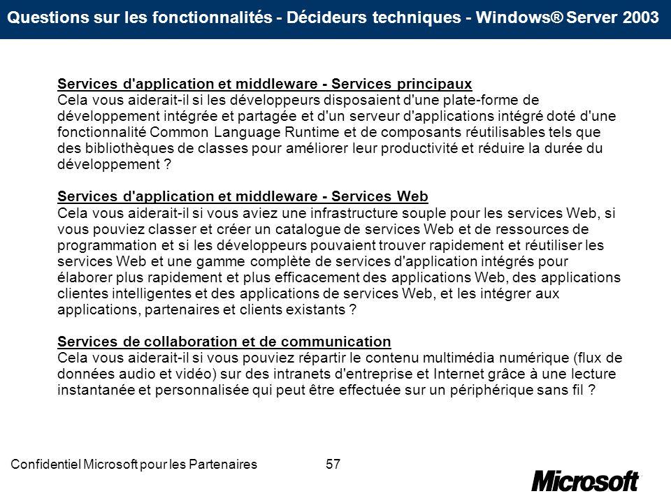 57Confidentiel Microsoft pour les Partenaires Services d'application et middleware - Services principaux Cela vous aiderait-il si les développeurs dis