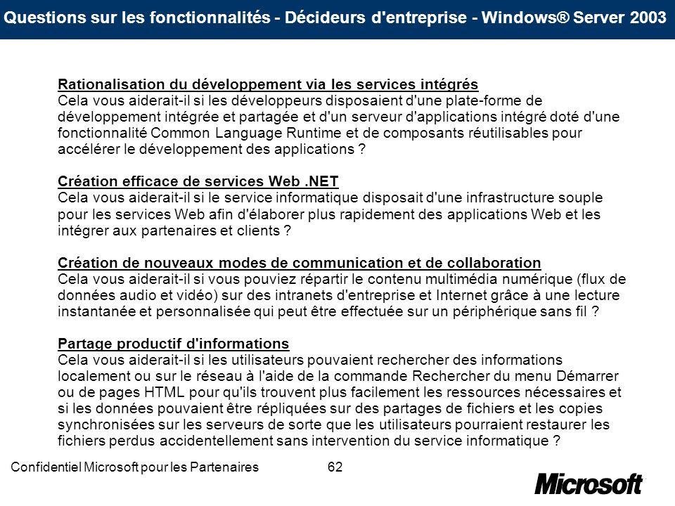62Confidentiel Microsoft pour les Partenaires Rationalisation du développement via les services intégrés Cela vous aiderait-il si les développeurs dis