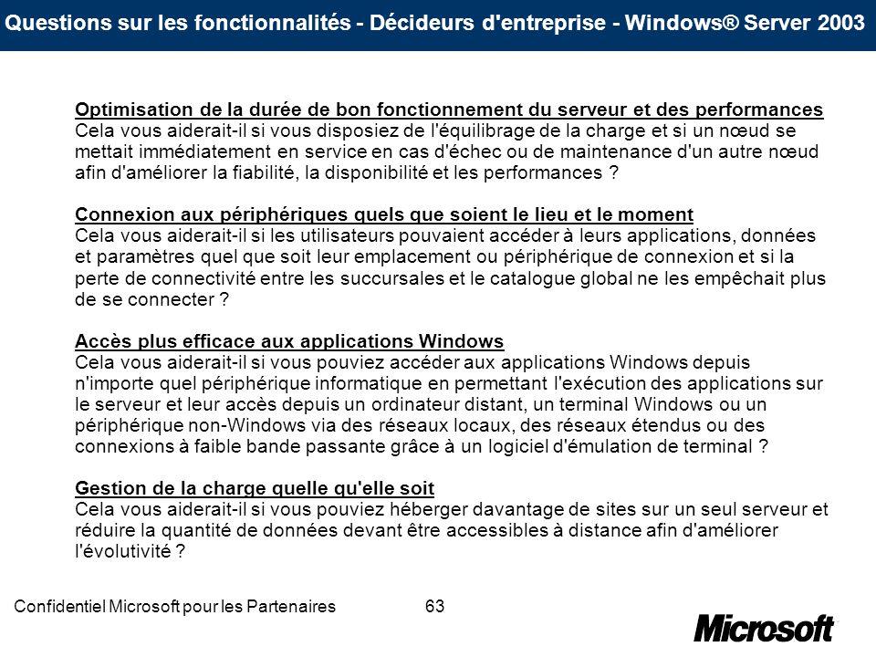 63Confidentiel Microsoft pour les Partenaires Optimisation de la durée de bon fonctionnement du serveur et des performances Cela vous aiderait-il si v