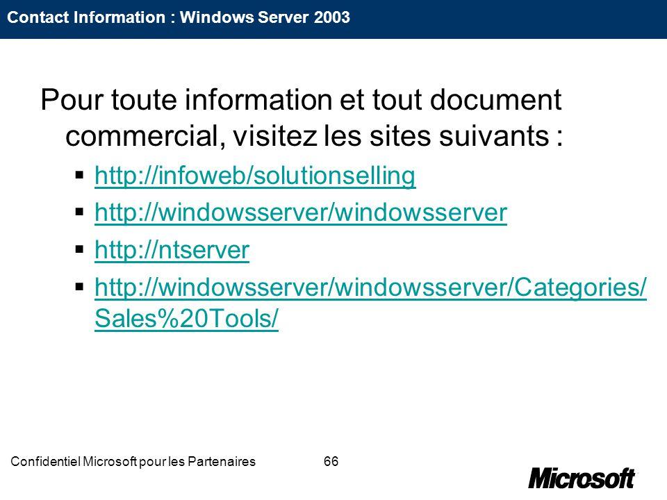 66Confidentiel Microsoft pour les Partenaires Contact Information : Windows Server 2003 Pour toute information et tout document commercial, visitez le