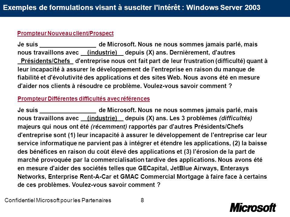 8Confidentiel Microsoft pour les Partenaires Je suis _________________ de Microsoft. Nous ne nous sommes jamais parlé, mais nous travaillons avec (ind
