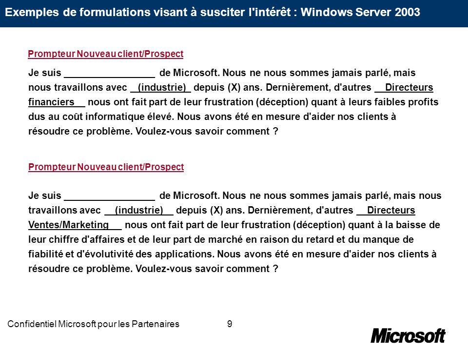 9Confidentiel Microsoft pour les Partenaires Je suis _________________ de Microsoft. Nous ne nous sommes jamais parlé, mais nous travaillons avec (ind