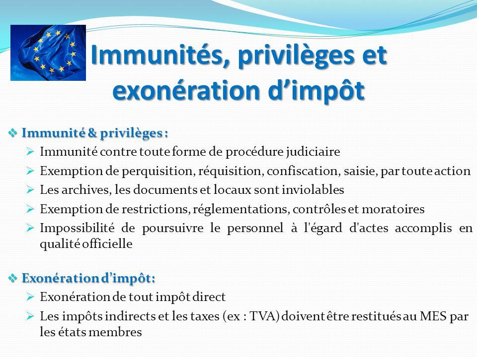 Immunités, privilèges et exonération dimpôt Immunité & privilèges : Immunité & privilèges : Immunité contre toute forme de procédure judiciaire Exempt