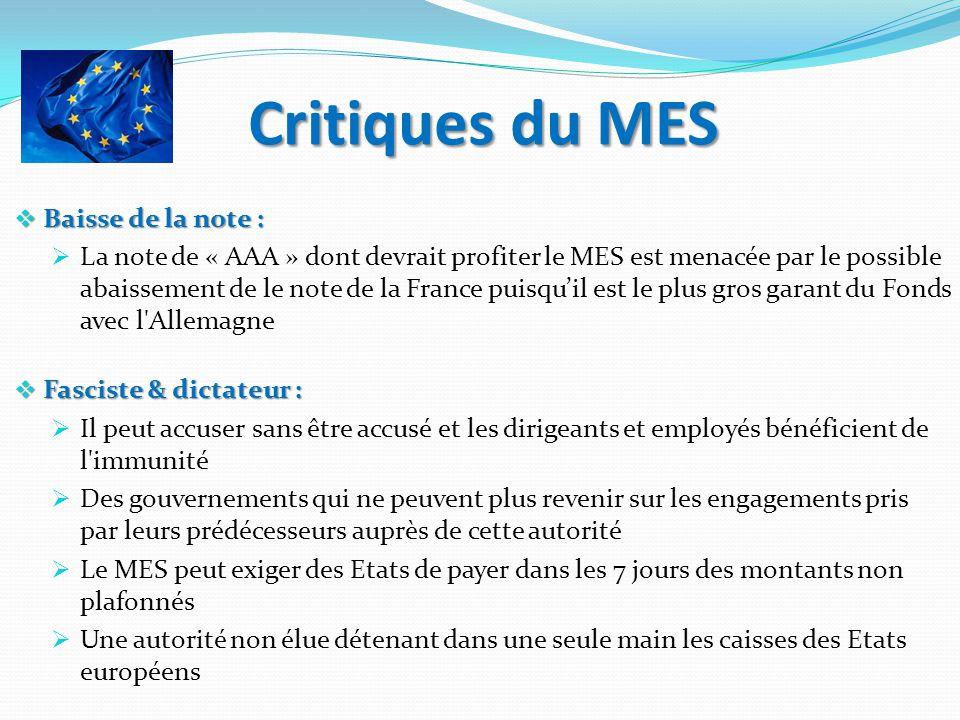 Critiques du MES Baisse de la note : Baisse de la note : La note de « AAA » dont devrait profiter le MES est menacée par le possible abaissement de le