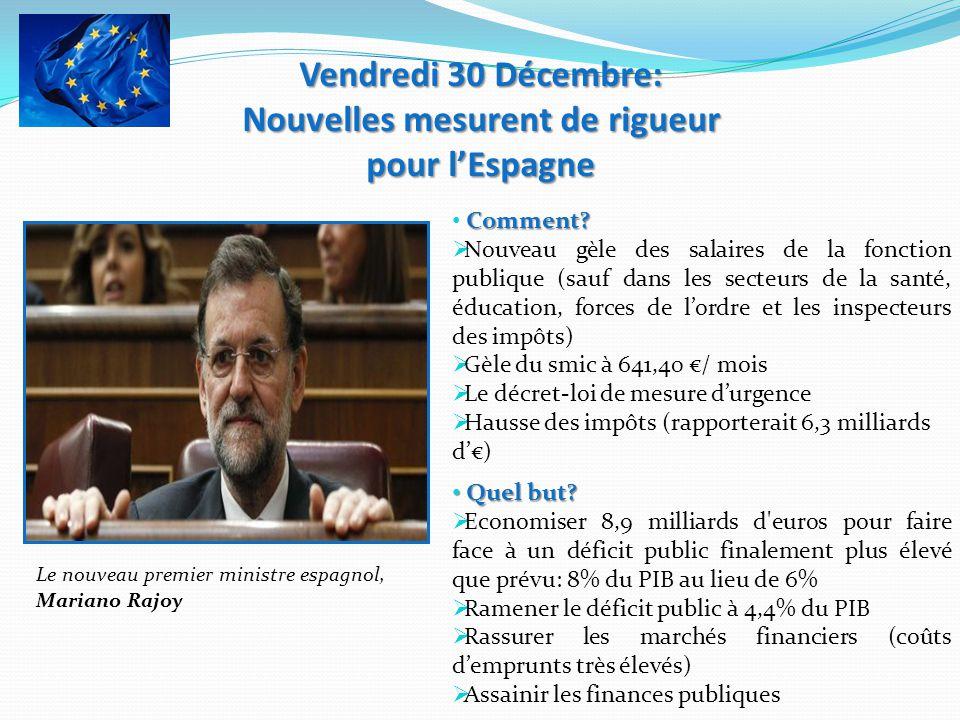 Vendredi 30 Décembre: Nouvelles mesurent de rigueur pour lEspagne Le nouveau premier ministre espagnol, Mariano Rajoy Comment? Nouveau gèle des salair