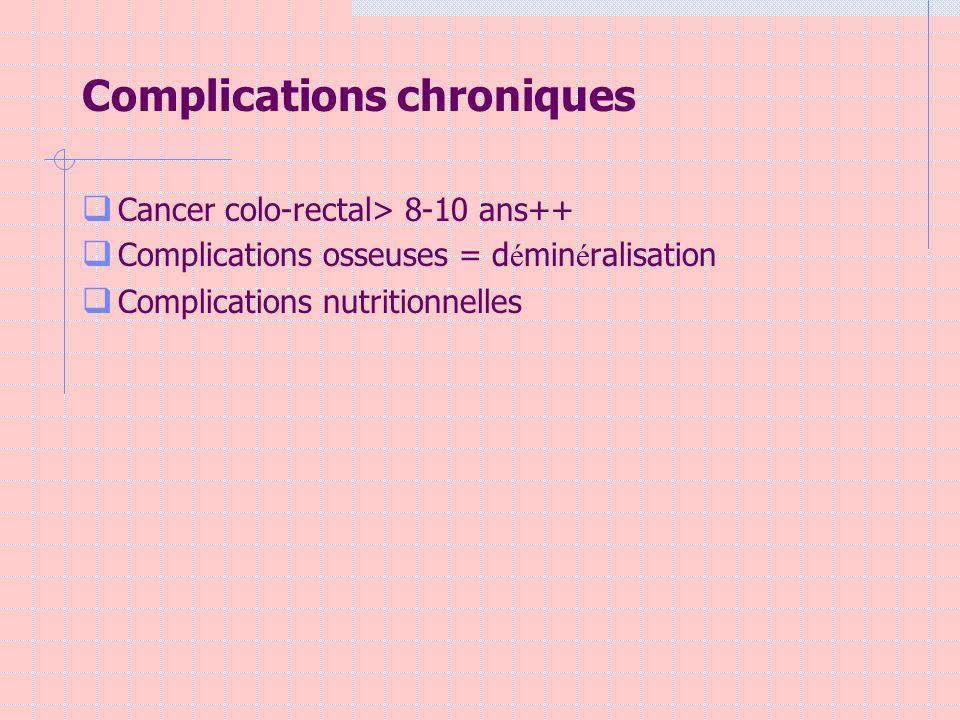 Complications chroniques Cancer colo-rectal> 8-10 ans++ Complications osseuses = d é min é ralisation Complications nutritionnelles