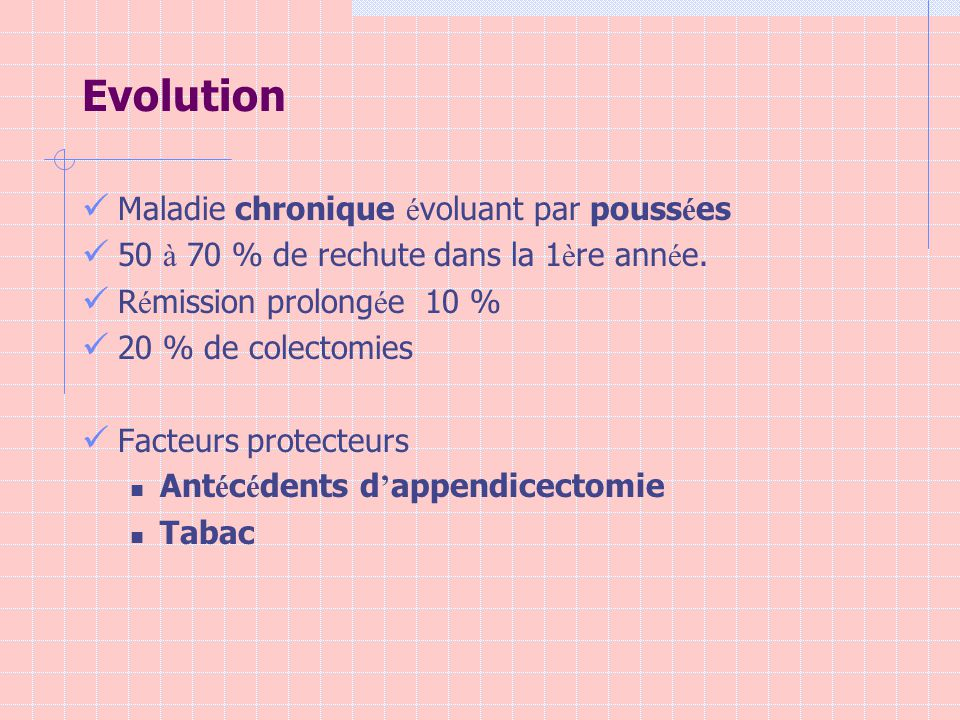 Evolution Maladie chronique é voluant par pouss é es 50 à 70 % de rechute dans la 1 è re ann é e. R é mission prolong é e 10 % 20 % de colectomies Fac