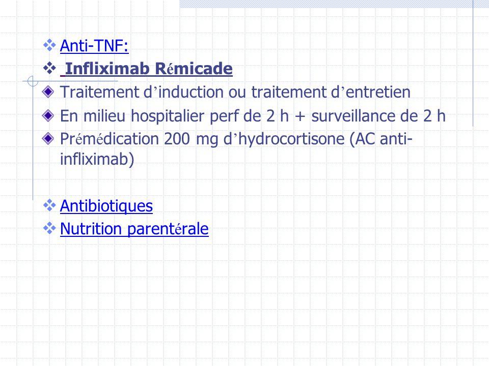 Anti-TNF: Infliximab R é micade Traitement d induction ou traitement d entretien En milieu hospitalier perf de 2 h + surveillance de 2 h Pr é m é dica