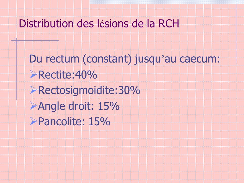 Distribution des l é sions de la RCH Du rectum (constant) jusqu au caecum: Rectite:40% Rectosigmoidite:30% Angle droit: 15% Pancolite: 15%