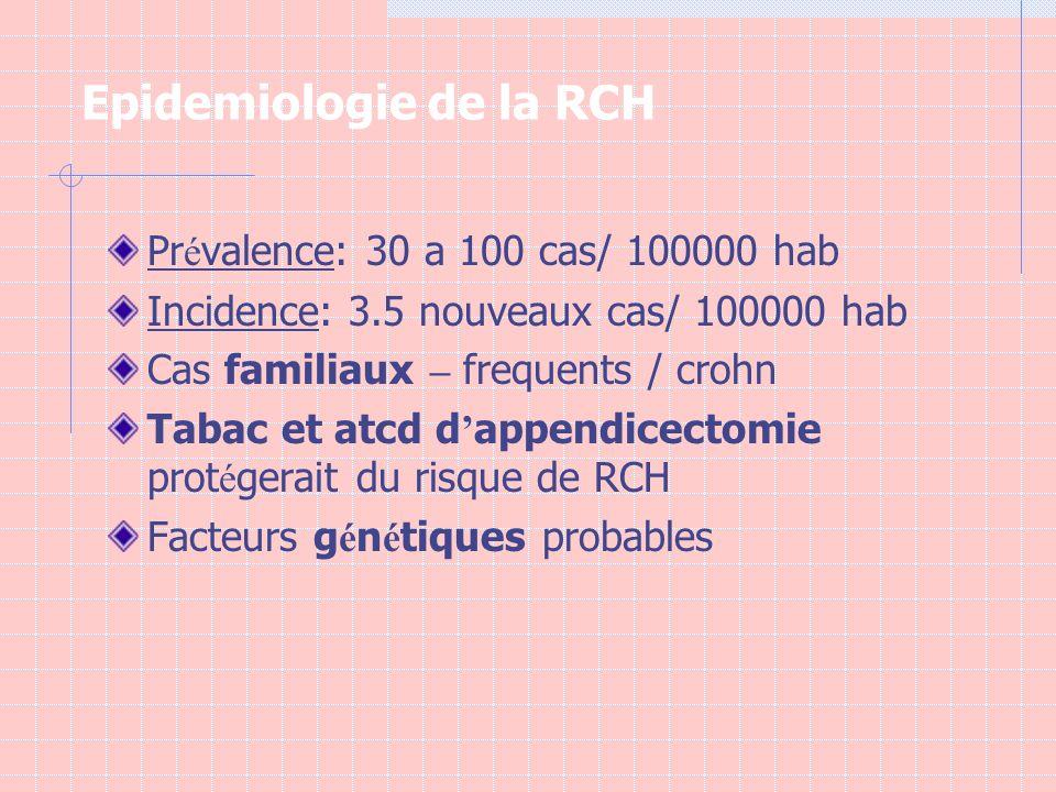 Epidemiologie de la RCH Pr é valence: 30 a 100 cas/ 100000 hab Incidence: 3.5 nouveaux cas/ 100000 hab Cas familiaux – frequents / crohn Tabac et atcd