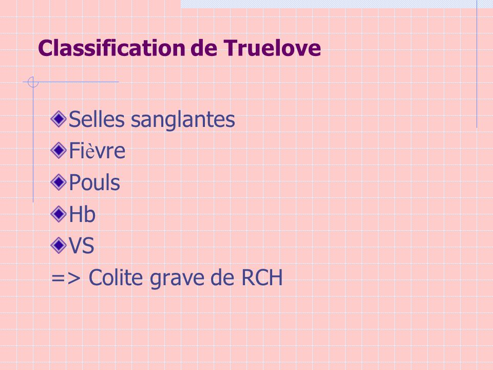 Classification de Truelove Selles sanglantes Fi è vre Pouls Hb VS => Colite grave de RCH