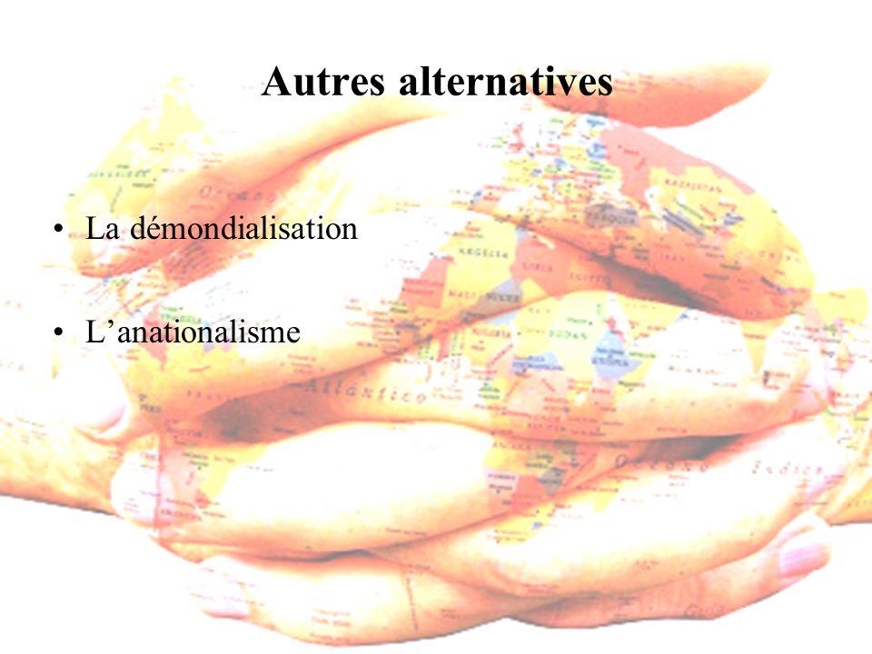 Autres alternatives La démondialisation Lanationalisme