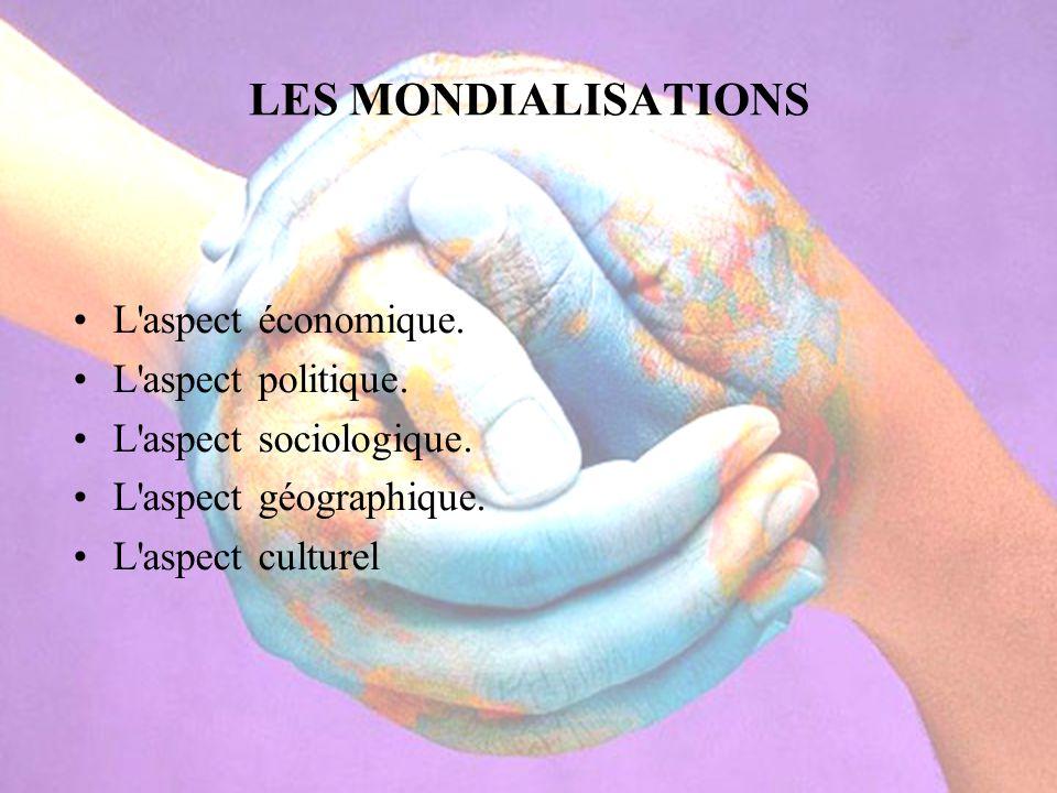 LES MONDIALISATIONS L'aspect économique. L'aspect politique. L'aspect sociologique. L'aspect géographique. L'aspect culturel