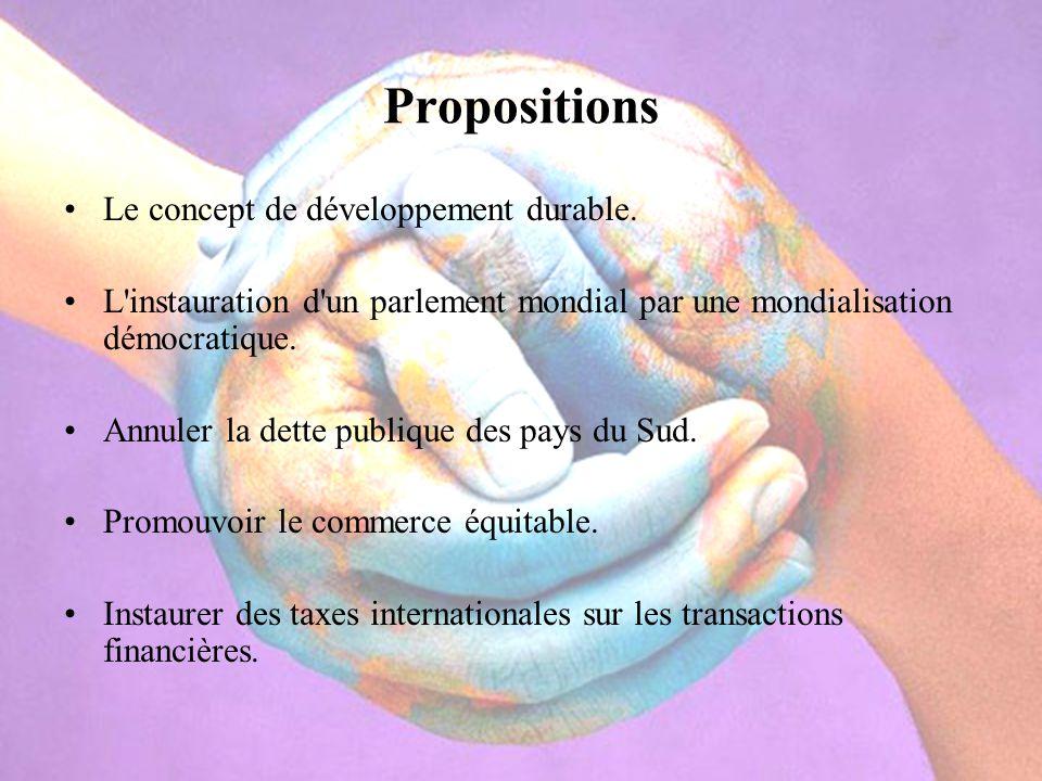 Propositions Le concept de développement durable. L'instauration d'un parlement mondial par une mondialisation démocratique. Annuler la dette publique