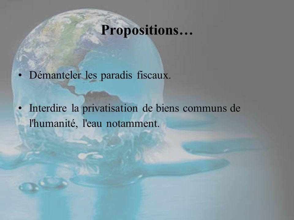 Démanteler les paradis fiscaux. Interdire la privatisation de biens communs de l'humanité, l'eau notamment. Propositions…