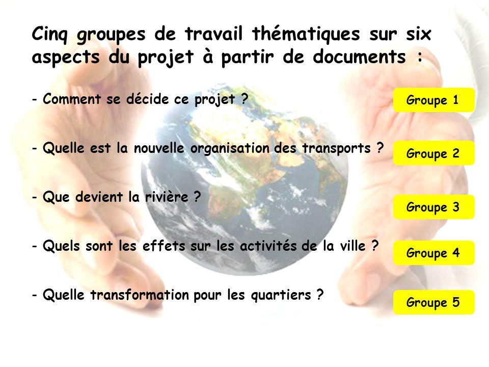 Cinq groupes de travail thématiques sur six aspects du projet à partir de documents : - Comment se décide ce projet ? - Quelle est la nouvelle organis