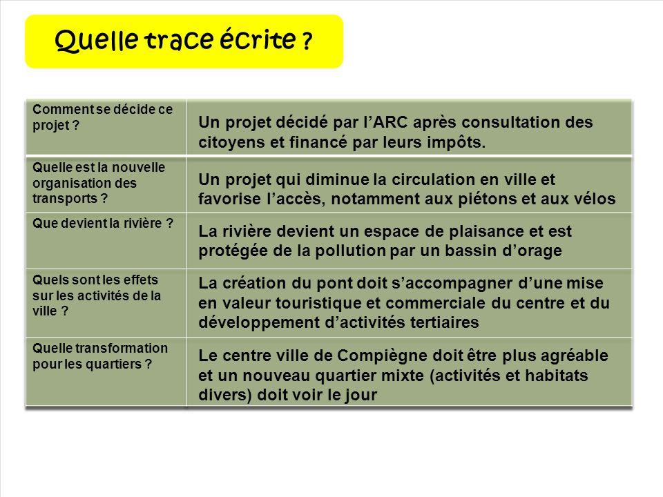 Quelle trace écrite ? Un projet décidé par lARC après consultation des citoyens et financé par leurs impôts. Un projet qui diminue la circulation en v