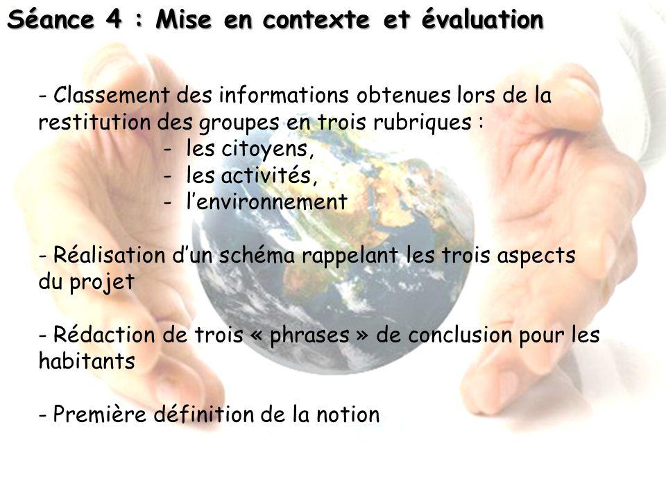 Séance 4 : Mise en contexte et évaluation - Classement des informations obtenues lors de la restitution des groupes en trois rubriques : - les citoyen