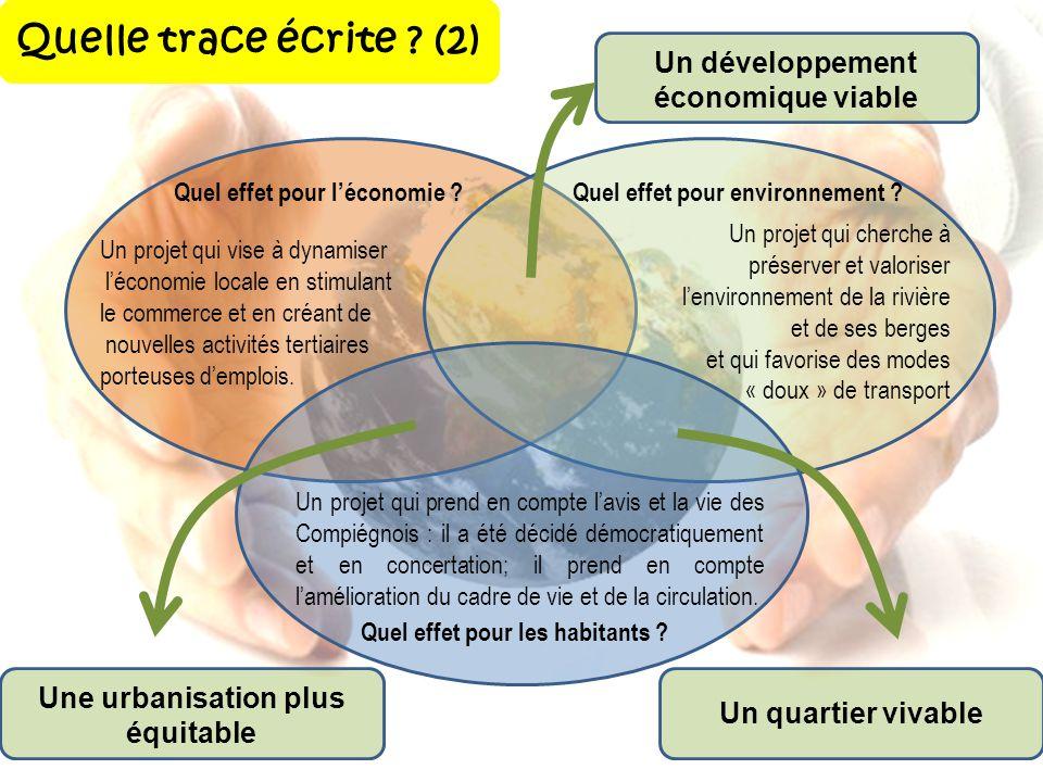 Quelle trace écrite ? (2) Un projet qui prend en compte lavis et la vie des Compiégnois : il a été décidé démocratiquement et en concertation; il pren