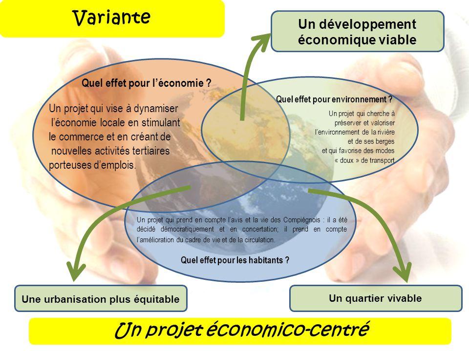 Un projet économico-centré Un projet qui prend en compte lavis et la vie des Compiégnois : il a été décidé démocratiquement et en concertation; il pre