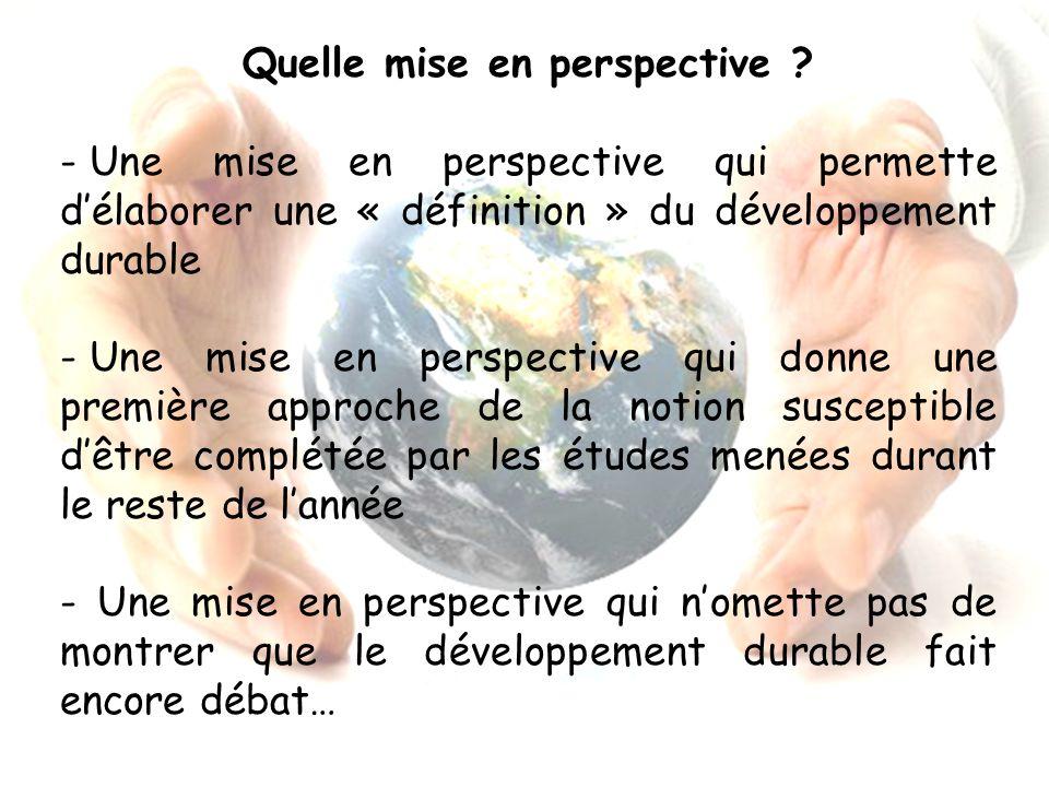 Quelle mise en perspective ? - Une mise en perspective qui permette délaborer une « définition » du développement durable - Une mise en perspective qu