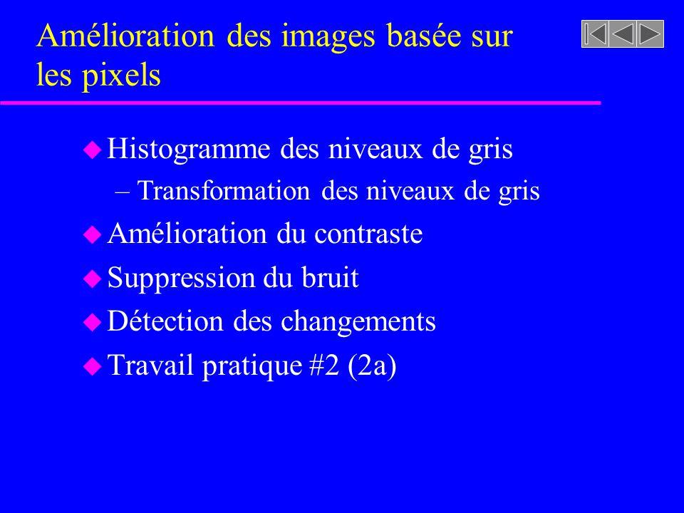 Amélioration des images basée sur les pixels u Histogramme des niveaux de gris –Transformation des niveaux de gris u Amélioration du contraste u Suppression du bruit u Détection des changements u Travail pratique #2 (2a)