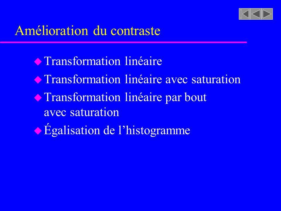 Amélioration du contraste u Transformation linéaire u Transformation linéaire avec saturation u Transformation linéaire par bout avec saturation u Égalisation de lhistogramme