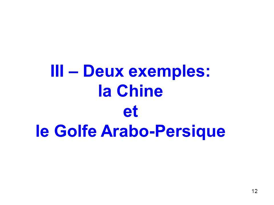12 III – Deux exemples: la Chine et le Golfe Arabo-Persique