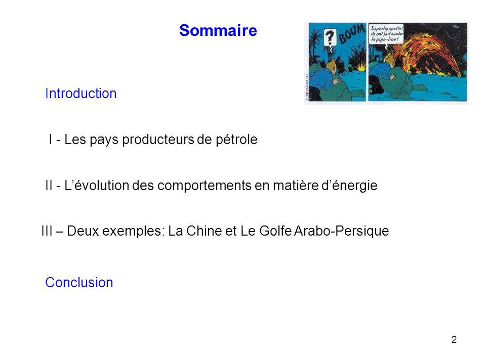2 Sommaire Introduction I - Les pays producteurs de pétrole II - Lévolution des comportements en matière dénergie III – Deux exemples: La Chine et Le